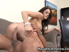 Pretty whore with fake tits Chanel Preston is making blowjob