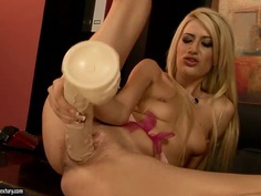 Blanche is playing with her favorite dildo