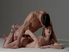 Minimalist sex session with a skinny brunette