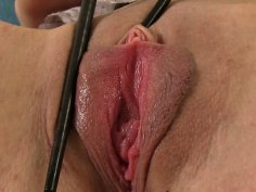 Skinny whore with small tits Leila handles big dildo
