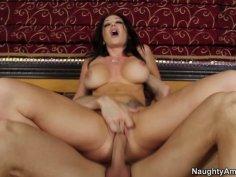 Busty brunette Jayden Jaymes rides dick with her shaved slit