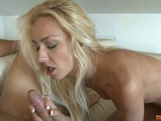 Quality deepthroat blowjob performed by steamy blonde chick