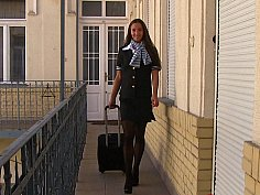 Sexy stewardess seduced