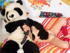 Party with a teddy bear over hot sex