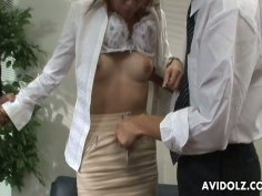 Cute Jap whore Cocoa sucks two dicks on the video casting