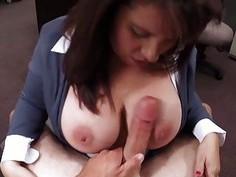 Busty brunette MILF sucks dick for cash