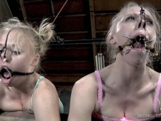 Sizzling lesbian chic tongue fucks her girlfriend while being bandaged in BDSM sex video