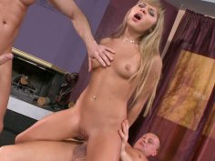 Outrageously hot blonde Willa gets pounded by two guys