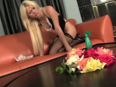 Awesome blonde housemaid Rebecca Blue sucks dick on the table