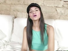 Hot Latina Alicia Poz sucking a big cock deep throat