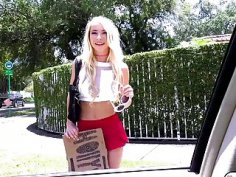Blonde teen Kenzie Reeves having sex in a strangers car