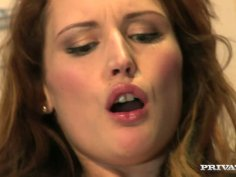 Sextractive red-haired babe Emy Russo fanalucked in reverse cowgirl pose
