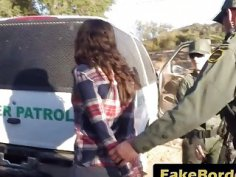 Alluring teens wall crosser in accidental lesbian fucking with horny border officer