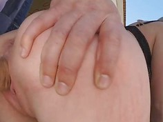 Taking big loads of cum in the middle of the street