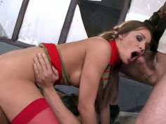 Magnificent blonde whore Ashley rides one cock and suck the other