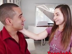 Excellent brunette teen hammered roughly by mexican cock
