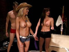 Lusty hot babes have fun in Foursome mansion