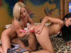 Lesbian adventure on the bed with blonde sexpot Salome