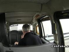 Blonde Finnish babe fucks in British fake taxi