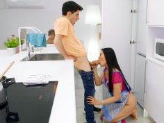 Katana Porn gives blowjob to Jordi in the kitchen