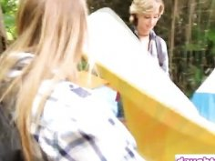 Stepdads swap teen babes and fuck in the outdoors