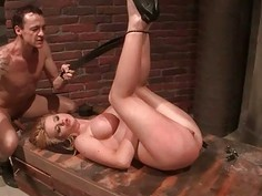 Busty girl getting tied up and punished