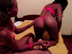 Amazing Hot African Lesbians playing in bed with their toys!