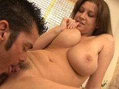 Chubby brunette slut with saggy tits Sara Stone blows, gives a titjob and fucks.