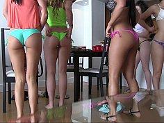 A group of teen teasers in bikini
