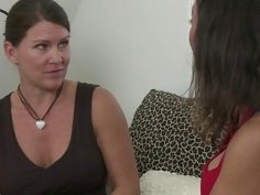 Brunette MILF Persia Monir and Sadie Michaels makes out while their husbands is not around