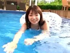 Appetizingly looking Japanese girl Riho Aitani in the pool